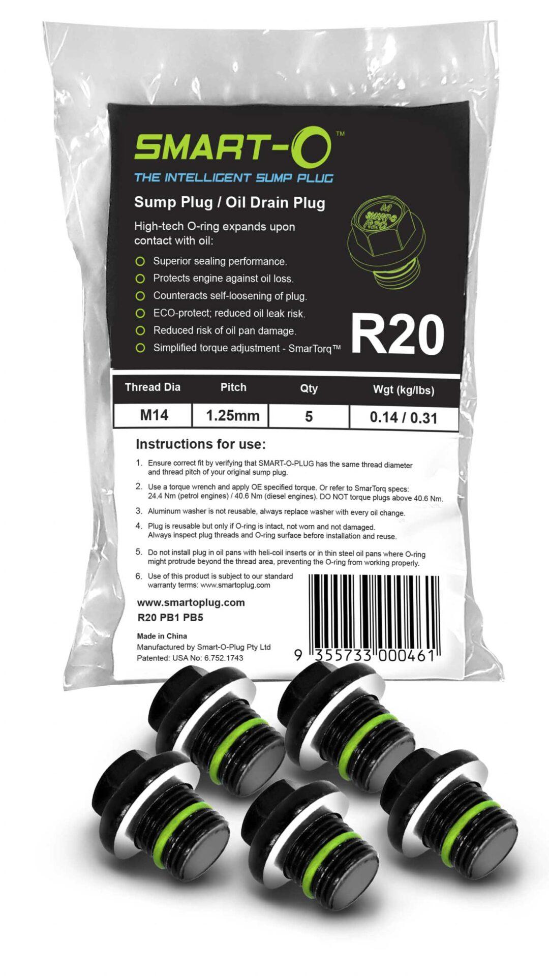 SMART-O Poly Bag Sump Plug 5X R20PB1PB5